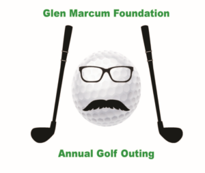 A picture of a golf ball with glasses and a mustache, two golf clubs on either side, and the title of the golf outing.